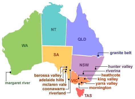 Australia Wine Regions.